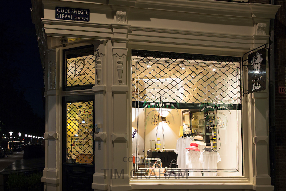 Designer fashion & hat shop Maison Rika at Oude Spiegel Straat and Herengracht in the Nine Streets shopping district, Amsterdam