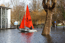 © Licensed to London News Pictures. 09/02/2014. Winchester, Hampshire, UK. Pippa Scott, a local resident, sails her dinghy (Dirty Seadog) along Park Avenue in Winchester where water levels have risen overnight in parts of the historic city where a flood warning has been issued by the Environment Agency for parts of the River Itchen. Photo credit : Rob Arnold/LNP