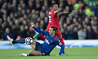 Football - 2016 / 2017 Premier League - Liverpool vs. Manchester United<br /> <br /> Manchester United's Zlatan Ibrahimovic slides in to win the ball from Liverpool's Nathaniel Clyne during the match at Anfield.<br /> <br /> COLORSPORT