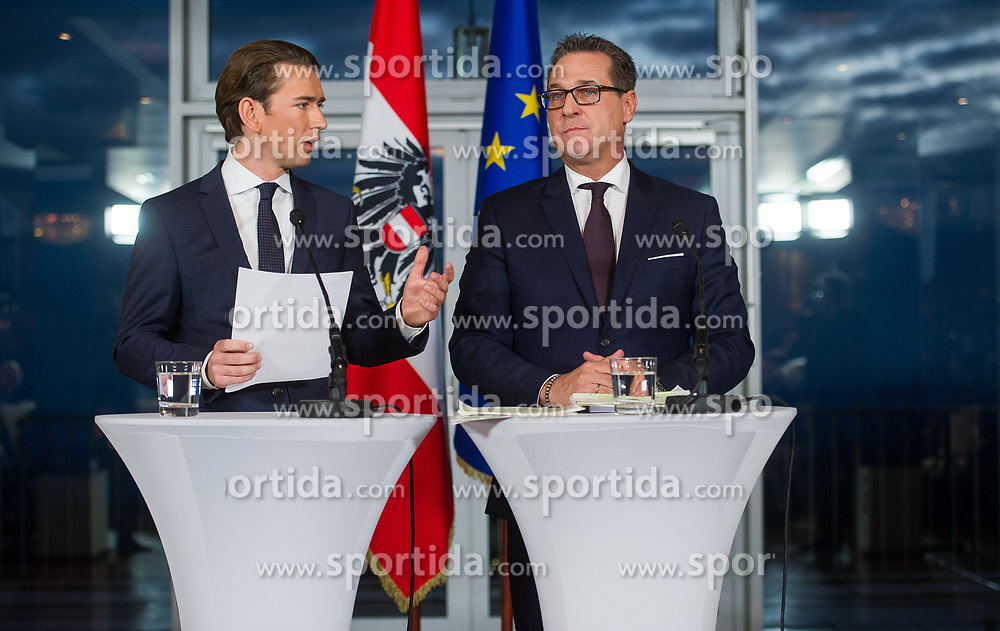 16.12.2017, Kahlenberg, Wien, AUT, Präsentation der neuen türkis-blauen Koalition, im Bild ÖVP-Klubobmann Sebastian Kurz und FPÖ-Klubobmann Heinz-Christian Strache // Head of the Austrian Peoples Party (OeVP) Sebastian Kurz and Head of the Austrian Freedom Party (FPOe) Heinz-Christian Strache during presentation of the new coalition between the Austrian Peoples Party and Austrian Freedom Party in Vienna, Austria on 2017/12/16, EXPA Pictures © 2017, PhotoCredit: EXPA/ Michael Gruber
