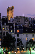 France. Paris elevated view on Paris cityscape , Saint Jacques tower and historical center, at dusk ,