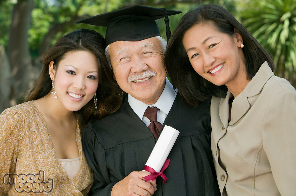 Older Graduate with Family