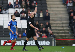 Match referee Charles Breakspear shows a straight red card to Joe Walsh of Milton Keynes Dons (not in picture) - Mandatory by-line: Joe Dent/JMP - 30/12/2017 - FOOTBALL - Stadium MK - Milton Keynes, England - Milton Keynes Dons v Peterborough United - Sky Bet League One