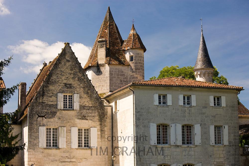 Chateau de Bourdeilles popular tourist destination near Brantome in Northern Dordogne, France
