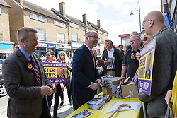 © Licensed to London News Pictures. 20/05/2017. LONDON, UK.  PAUL NUTTALL, UKIP leader campaigns in Elm Park with UKIP candidate for Dagenham and Rainham, PETER HARRIS. All political parties continue to campaign across the UK ahead of the general election taking place on 8th June. Photo credit: Vickie Flores/LNP