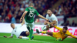 29.05.2013, Wembley Stadion, London, ENG, Testspiel, England vs Irland, im Bild Republic of Ireland's Jon Walters sees his shot blocked against England during during International Friendly Match between England and Republic of Ireland at the Wembley Stadium, London, United Kingdom on 2013/05/29. EXPA Pictures © 2013, PhotoCredit: EXPA/ Propagandaphoto/ David Rawcliffe<br /> <br /> ***** ATTENTION - OUT OF ENG, GBR, UK *****