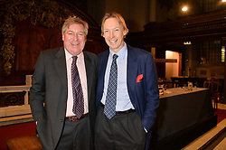 Left to right, EDWARD STOURTON and JAMES STOURTON at a reception and debate to celebrate the publication of  'Women in Waiting, Prejudice at the the Heart of the Church' by Julia Ogilvy held at St.James's Church, 197 Piccadilly, London on 11th March 2014.