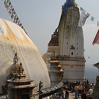 People spinning the prayer wheels at Swayambhunath stupa - the Monkey Temple - in Nepal.