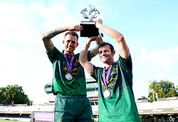 Chris Read and Alex Hales of Nottinghamshire lift the Royal London One-Day Cup Trophy after their side's win over Surrey - Mandatory by-line: Robbie Stephenson/JMP - 01/07/2017 - CRICKET - Lord's Cricket Ground - London, United Kingdom - Nottinghamshire v Surrey - Royal London One-Day Cup Final 2017