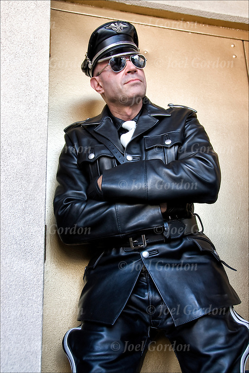 Steven is dressed as a &quot;Tom of Finland&quot; look-a-like in his custom made leather gear costing over $4,000 at Folsom Street East S&amp;M in New York City.<br /> <br /> Tom Laaksone best known by his pseudonym Tom of Finland was a Finnish artist notable for his stylized fetish art and his influence on late twentieth century gay culture. .. His work revived and commercialized an underground leather counter-culture which emerged after World War II and reached its height in the late 1970s and early 1980s before the emergence of AIDS in the gay community. <br /> <br /> Tom is best known for his stylized in-your-face erotic and fetish art depicting heavily muscled men with large penises in tight or partially removed clothing.<br /> <br /> # 2655