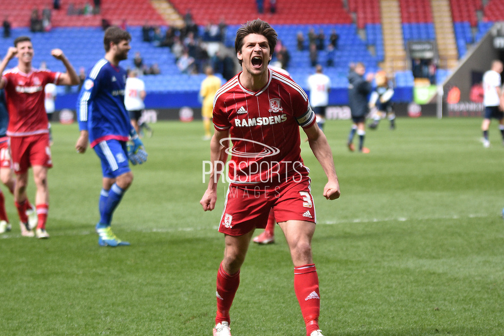 Middlesbrough Defender, George Friend celebrates with the away fans during the Sky Bet Championship match between Bolton Wanderers and Middlesbrough at the Macron Stadium, Bolton, England on 16 April 2016. Photo by Mark Pollitt.