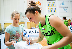 Teja Oblak of Slovenia with fans after friendly basketball match between Women National teams of Slovenia and Croatia before FIBA Eurobasket Women 2017 in Prague, on June 1, 2017 in Celje, Slovenia. Photo by Vid Ponikvar / Sportida