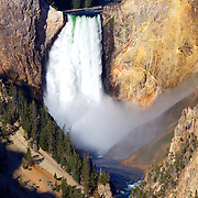 The Lower Falls of Grand Canyon of the Yellowstone, at 308 feet high, is the biggest waterfall and one of the most photographed features in all of Yellowstone National Park