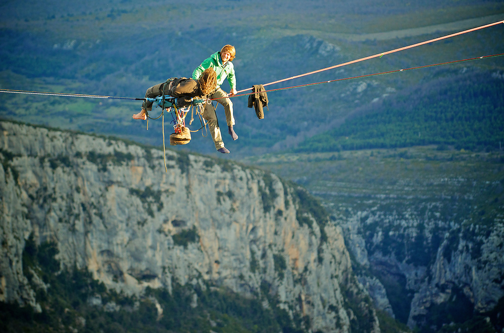 Christian Krr and Alexander Schultz from Elephant Slacklines, perform the first attempts of slackline yoga in the first SPACE line, 300m high, and 65, 45,30m legs, rigged in the Sordidon sector of Verdon Gorges, France. ..2012 © Pedro Pimentel