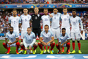 England starting line up for the Round of 16 Euro 2016 match between England and Iceland at Stade de Nice, Nice, France on 27 June 2016. Photo by Andy Walter.