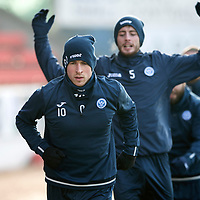 St Johnstone Training….<br />David Wotherspoon pictured during training at McDiarmid Park ahead of Wednesday nights game at Ross County<br />Picture by Graeme Hart.<br />Copyright Perthshire Picture Agency<br />Tel: 01738 623350  Mobile: 07990 594431