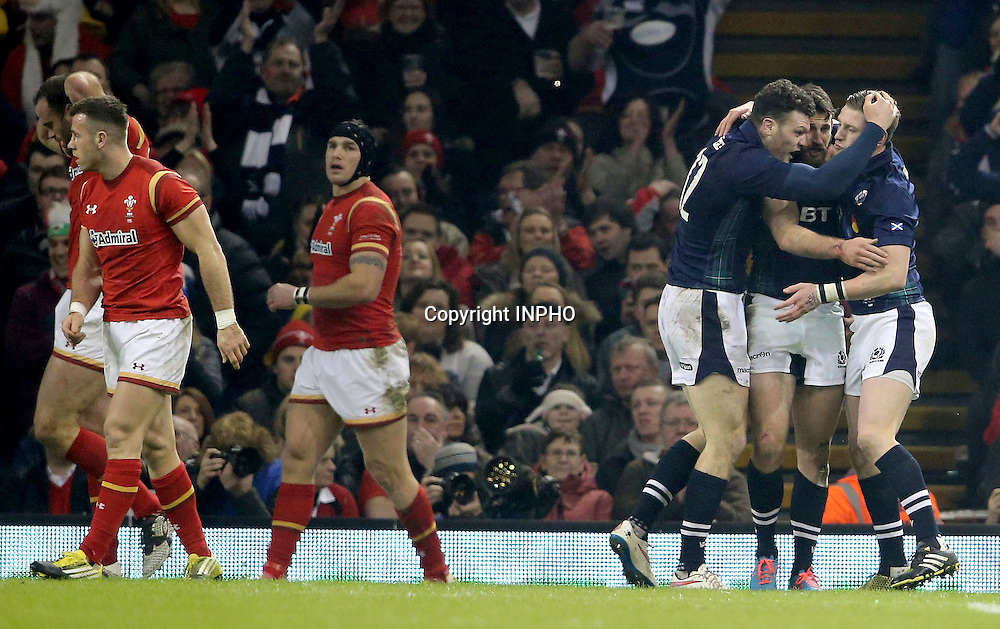 RBS 6 Nations Championship Round 2, Principality Stadium, Cardiff, Wales 13/2/2016<br /> Wales vs Scotland<br /> Scotland's Tommy Seymour is congratulated by teammates after scoring a try<br /> Mandatory Credit &copy;INPHO/Cathal Noonan