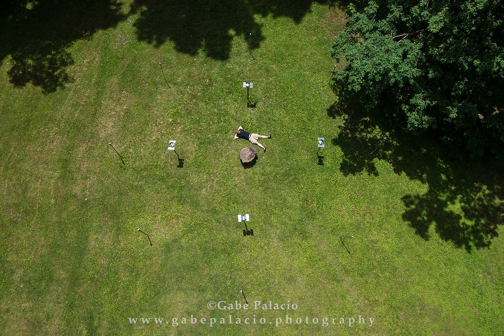 Scott Smallwood's installation of Coronium 3500 (Lucie's halo) for In the Garden of Sonic Delights at Caramoor in Katonah New York on June 2, 2014. <br /> (photo by Gabe Palacio)