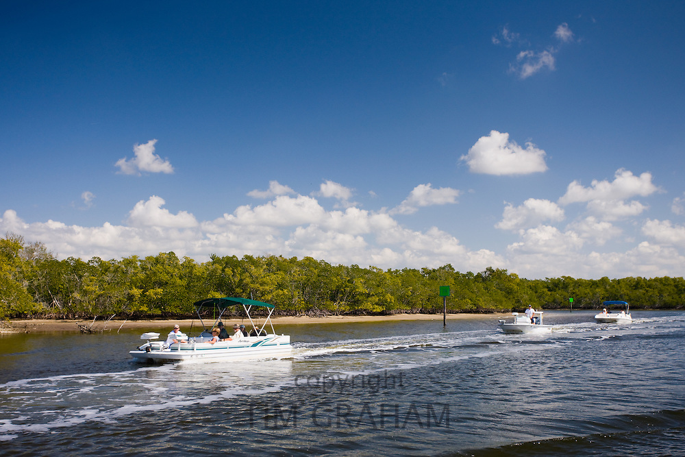 Tourists and holidaymakers on vacation in Florida Everglades, United States of America