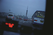 Driving in a taxi in Guangzhou, one of the cities visited as part of the Think UK Writers Train project. The Think UK China Writers Train is a project, in collaboration with the British Council, to take 4 UK writers/poets and 4 Chinese writers/poets around China by train visiting 6 major cities, in 17 days, to hold talks, seminars and readings of their work.