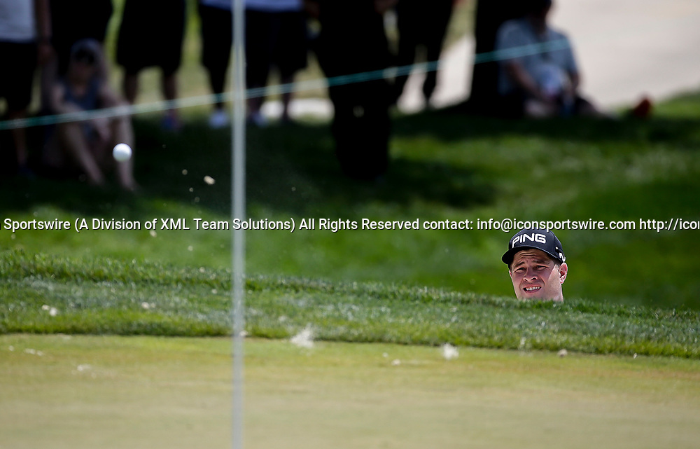 POTOMAC, MD - JULY 01:  David Lingmerth chips out of the sand onto the 1st green during the third round of the Quicken Loans National at TPC Potomac at Avenel Farm in Potomac, MD.(Photo by Justin Cooper/Icon Sportswire)