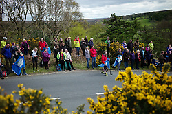 (c) Licensed to London News Pictures. <br /> 28/04/2017<br /> Goathland, UK<br /> <br /> Spectators wait the approach of riders taking part in the Tour de Yorkshire cycling race as they pass through Goathland on Stage 1 of the three stage race.<br /> <br /> Photo Credit: Ian Forsyth/LNP