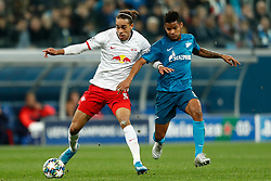 November 4, 2019, Saint Petersburg, USA: SAINT PETERSBURG, RUSSIA - NOVEMBER 05: forward Yussuf Poulsen of RB Leipzig and midfielder Wilmar Barrios of FC Zenit vie for the ball during UEFA Champions League match FC Leipzig at FC Zenit on November 05, 2019, at Saint Petersburg Stadium in Saint Petersburg, Russia. (Photo by Anatoliy Medved/Icon Sportswire) (Credit Image: © Anatoliy Medved/Icon SMI via ZUMA Press)
