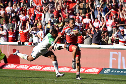 Courtnasll Skosana on the way to score a try during the semi final of the Vodacom Super Rugby 2016 season between the Lions and the Highlanders held at the Emirates Airline Park in Johannesburg, South Africa on the 30th July 2016Photo by Real Time Images