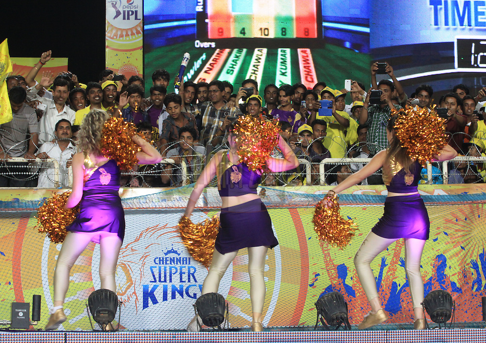 KKR Cheer Leaders performed  during match 21 of the Pepsi Indian Premier League Season 2014 between the Chennai Superkings and the Kolkata Knight Riders  held at the JSCA International Cricket Stadium, Ranch, India on the 2nd May  2014<br /> <br /> Photo by Arjun Panwar / IPL / SPORTZPICS<br /> <br /> <br /> <br /> Image use subject to terms and conditions which can be found here:  http://sportzpics.photoshelter.com/gallery/Pepsi-IPL-Image-terms-and-conditions/G00004VW1IVJ.gB0/C0000TScjhBM6ikg