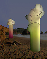 Ebb &amp; Flow-Night<br /> Study: 18&quot; x 6&quot;/Proposal: 12'  x 8'<br /> <br /> Sensuous sentinel sculptures. Proposed installation for outdoor coastal sculpture park. With these proposed sculptures the idea is to incorporate sound and light. Wind chimes will be hung from within and the use of motion sensor solar lights that activate as one approaches or even drums on them, the colors will change. When undisturbed by human interaction the light will gently pulse through every color of the spectrum.