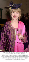 The MARCHIONESS OF HUNTLY at a party in London on 27th March 2001.<br />
