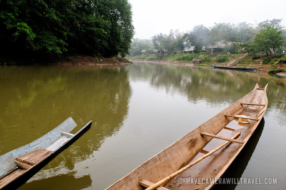 Wooden boats on the River Tha (Nam Tha) in Luang Namtha in northern Laos.