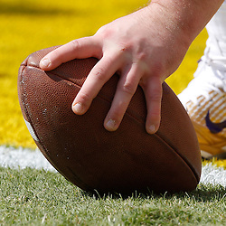 October 22, 2011; Baton Rouge, LA, USA;  A detailed view of a player snapping the ball prior to kickoff of a game between the LSU Tigers and the Auburn Tigers at Tiger Stadium.  Mandatory Credit: Derick E. Hingle-US PRESSWIRE / © Derick E. Hingle 2011