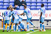 Coventry midfielder Wesley Jobello celebrates his goal with team-mates but later disallowed for offside during the EFL Sky Bet League 1 match between Bolton Wanderers and Coventry City at the University of  Bolton Stadium, Bolton, England on 10 August 2019.