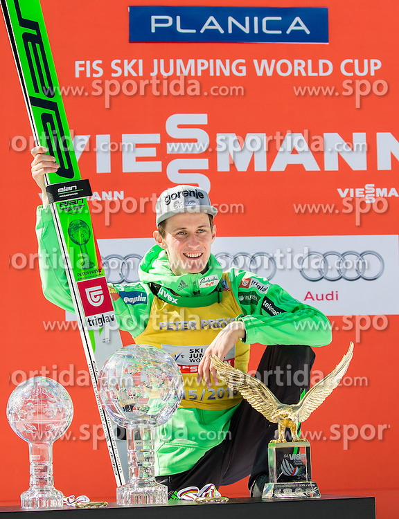 Overall World Cup winner, overall Ski Flying World Cup Champion, World Champion and Four Hills Tournament winner in season 2015/16 Peter Prevc of Slovenia celebrate with globes, medals and  Eagle during trophy ceremony after the Ski Flying Hill Individual Competition at Day 4 of FIS Ski Jumping World Cup Final 2016, on March 20, 2016 in Planica, Slovenia. Photo by Vid Ponikvar / Sportida