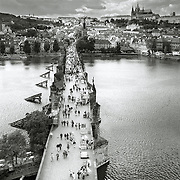 Charles Bridge and Pravský hrad (Prague casle), Prague, Czech Republic