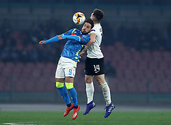 February 21, 2019 - Rome, Italy - SSC Napoli v FC Zurich - UEFA Europa League Round of 32.Simone Verdi of Napoli and Toni Domgjoni of Zurich at San Paolo Stadium in Naples, Italy on February 21, 2019. (Credit Image: © Matteo Ciambelli/NurPhoto via ZUMA Press)