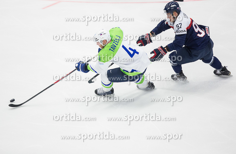 Andrej Tavzelj of Slovenia vs Patrik Lusnak of Slovakia during Ice Hockey match between Slovakia and Slovenia at Day 5 in Group B of 2015 IIHF World Championship, on May 5, 2015 in CEZ Arena, Ostrava, Czech Republic. Photo by Vid Ponikvar / Sportida
