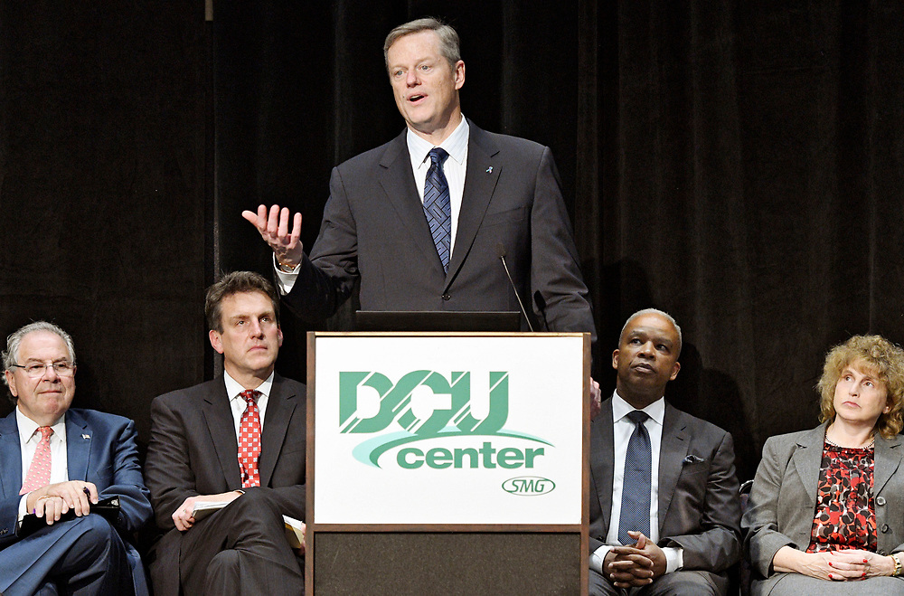 Gov. Charlie Baker speaks during the Economic Development Summit at the DCU Center on Wednesday, October 19, 2016. <br />