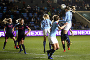 Manchester City forward Janine Beckie (11) heads in the second goal 2-1 during the FA Women's Super League match between Manchester City Women and Everton Women at the Sport City Academy Stadium, Manchester, United Kingdom on 20 February 2019.