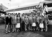 Olympian ambition: part of the Irish team, with their Chef de Mission and officials, leaving Dublin Airport bound for the Olympic games in Moscow.<br />