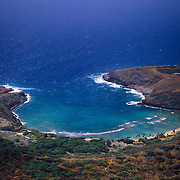 Beautiful turquoise Hanauma Bay shimmers near Honolulu on Oahu in Hawaii.