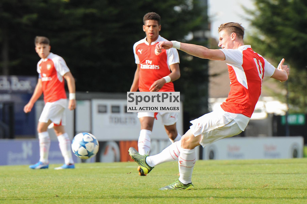 Arsenals Ben Sheaf gets a shot away during the Arsenal u19 v Bayern Munich u19 match on Tuesday 20th October 2015 in the UEFA Youth League at Borehamwood