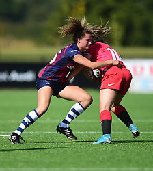 Lucy Attwood of Bristol Bears Women tackles Lisa Martin of Saracens Women - Mandatory by-line: Alex James/JMP - 21/09/2019 - RUGBY - Shaftesbury Park - Bristol, England - Bristol Bears Women v Saracens Women - Tyrrells Premier 15s
