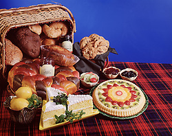 bread basket cake jam jelly kiwi tort strawberry checkered table cloth picnic cookies lemon blue background copy space holiday party celebration