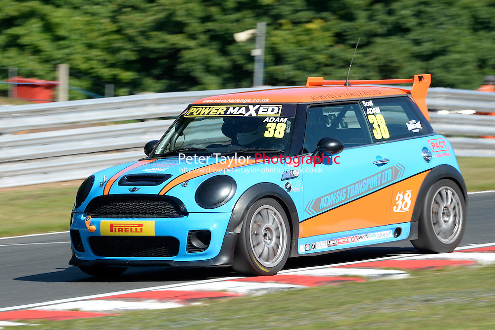 #38 Scot Adam Mini JWC during Power Maxed Mini Challenge - F56/JCW - Qualifying  as part of the Mini Festival  at Oulton Park, Little Budworth, Cheshire, United Kingdom. August 08 2015. World Copyright Peter Taylor. Copy of publication required for printed pictures.  Every used picture is fee-liable. http://archive.petertaylor-photographic.co.uk