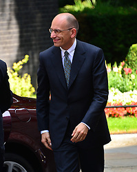 Italian Prime Minster Enrico Letta arrives at 10 Downing Street for a meeting with Prime Minister David Cameron. Mr Letta is in the UK on a two day visit.<br /> 10 Downing Street, London, United Kingdom<br /> Wednesday, 17th July 2013<br /> Picture by Nils Jorgensen / i-Images