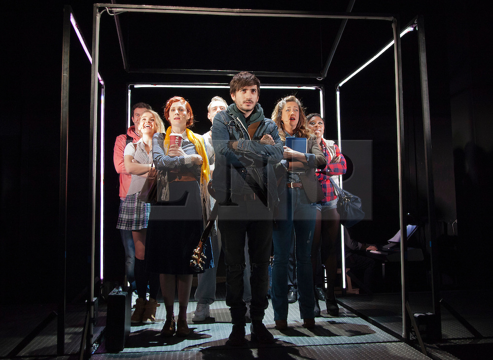 © Licensed to London News Pictures. 31/01/2013. London, England. L-R: Ellie Kirk, Nikki Davis-Jones, George Maguire, Julie Atherton and Cyththia Erivo. LIFT, world premiere of a new musical by Craig Adams and Ian Watson about love, life and loss in a London lift. Cast includes: Julie Atherton, Nikki Davis-Jones, Cynthia Erivo, Jonny Fines, Luke Kempner, Ellie Kirk, George Maguire, Robbie Towns. 30 January to 24 February 2013. Photo credit: Bettina Strenske/LNP