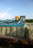 Loading hay bales on to flat bed trailer with teleporter