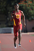 Nov 2, 2017; Los Angeles, CA, USA; Southern California Trojans sprinter T.J. Brock runs during workout at Cromwell Field.
